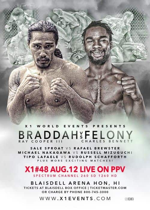 X1#48: Bradda vs Felony August 12, 2017 Fight  Results