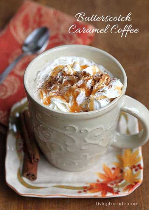 Butterscotch Caramel Coffee Recipe. Perfect for a cold night! LivingLocurto.com