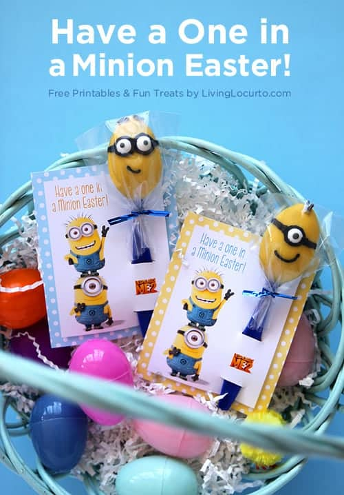 Minion candy spoons are such a fun and easy dessert idea! Enjoy free printable gift tags for Easter baskets and great ideas for a Despicable Me themed birthday party!