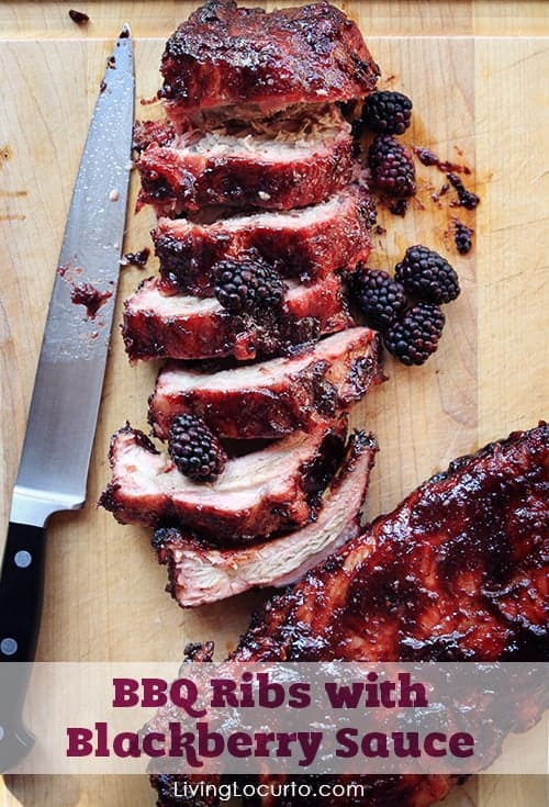 BBQ Ribs with Blackberry Sauce. A mouthwatering easy barbecue pork recipe with a sweet and spicy sauce. LivingLocurto.com