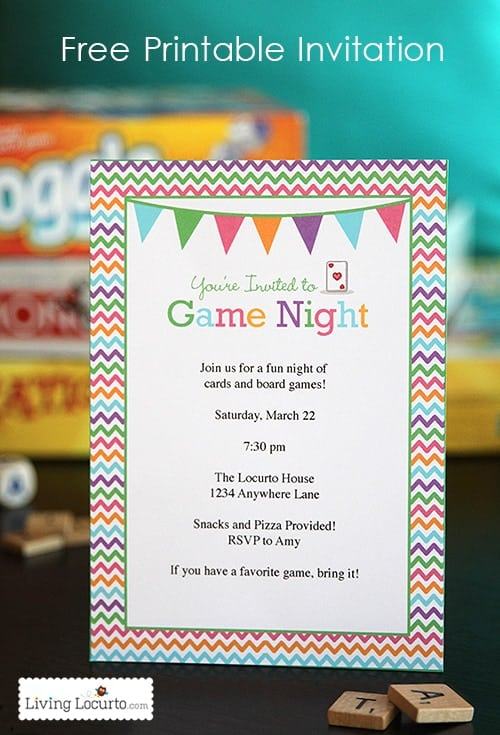 Game night party ideas with a free printable invitation. Fun game ideas for adults and the whole family to enjoy at home.
