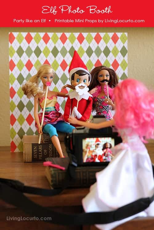 A fun Elf Photo Booth idea. Printable Elf photo props include a Mini Santa Beard, Lips and Mustache. Grab your Elf doll, Barbie and camera for a party!