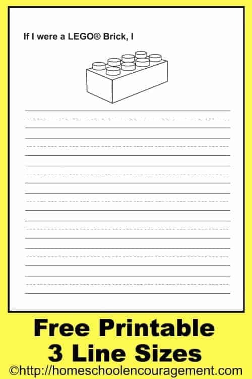 Do you have a Lego fan in your homeschool? Add fun to their writing assignments with this FREE Lego brick writing page. Start them off by letting them write about being a Lego brick. #homeschool #lego
