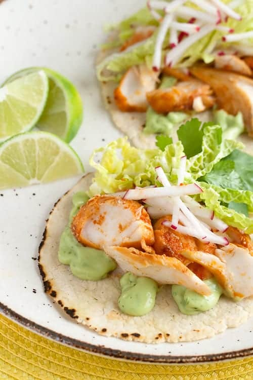 Spicy Fish Tacos with Avocado Sauce