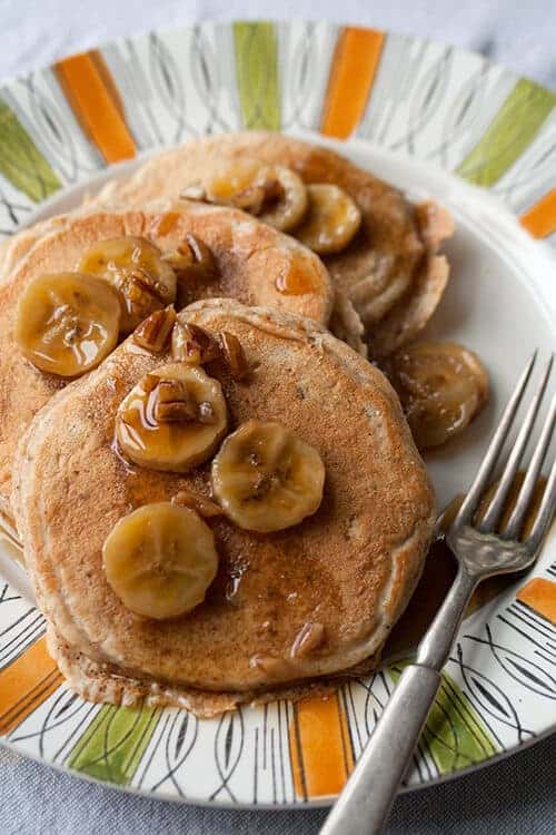 Multigrain Bananas Foster Pancakes