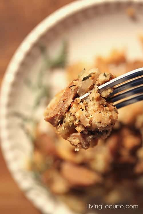 Apple Sausage Cornbread Dressing ~ A delicious side dish recipe for Thanksgiving or everyday dinner! Recipe at LivingLocurto.com
