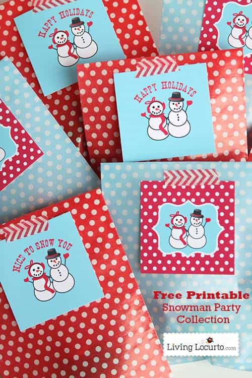 Free Printable Holiday Snowman Tags - Easy DIY Gift Idea by LivingLocurto.com