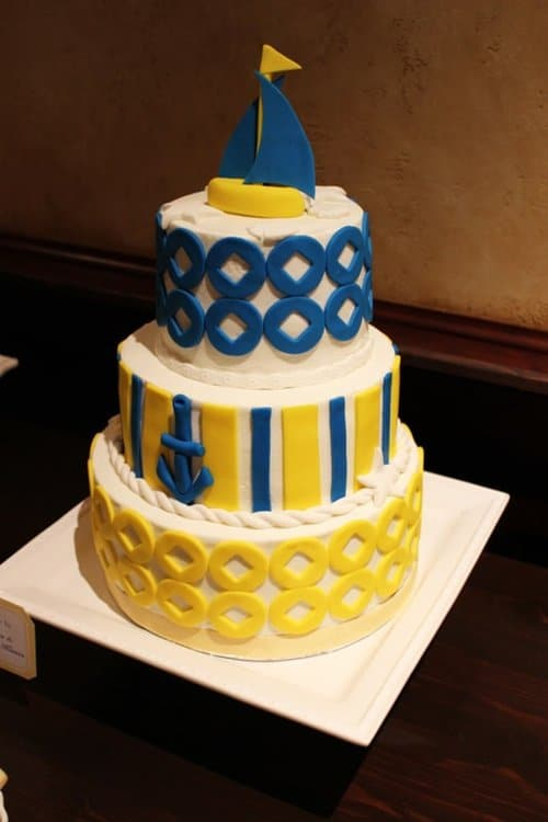 Nautical Baby Shower Ideas! Love this Yellow and Blue cake.