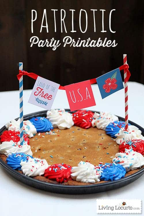 4th of July Party Printables & Cookie Cake. LivingLocurto.com