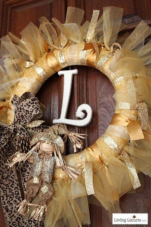 How to Make a Yarn Letter. Gold DIY Holiday Fall Wreath Easy Craft Tutorial. LivingLocurto.com
