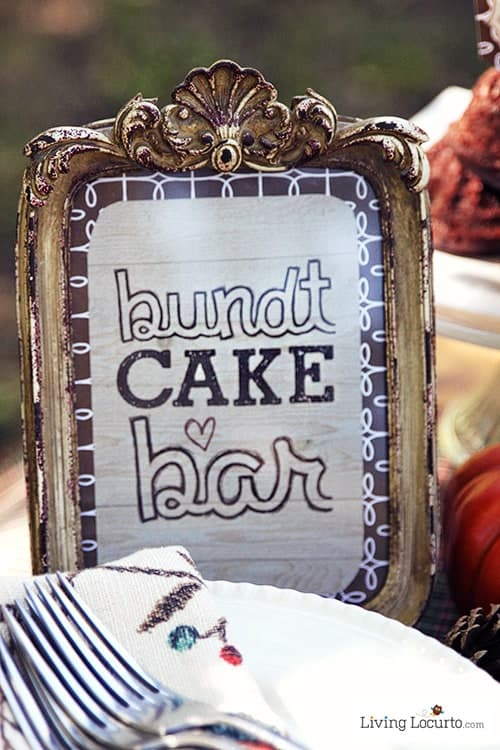 Mini Bundt Cake Bar Free Party Printables are perfect for a decorate your own dessert table! See more at LivingLocurto.com