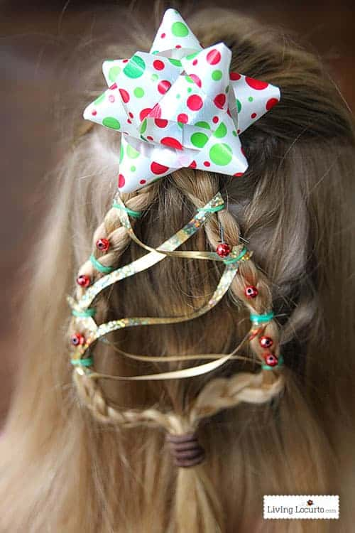 Christmas tree braid tutorial is an easy Holiday hairstyle for girls! With a few embellishments you'll have a cute Christmas themed hair braid.