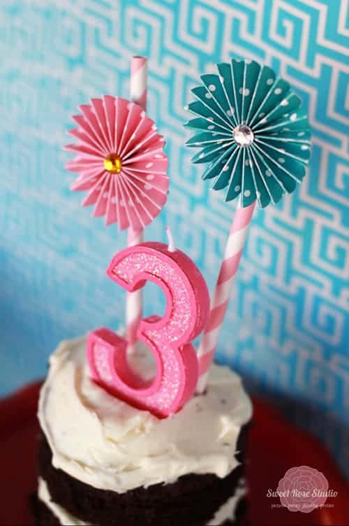 Cupcake Party Ideas by Sweet Rose Studio | Cute Paper Flower Stickers by Party with Amy Locurto