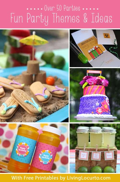 Fun party themes to help you find inspiration, printables and recipes for a birthday party, holiday party or special celebration.