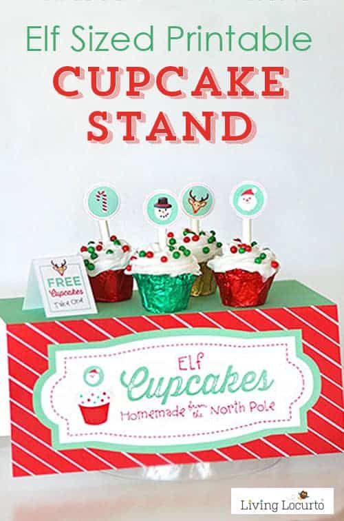 Tiny Elf Sized Cupcake Stand with mini cupcakes! Cute printable idea for kids at Christmas.