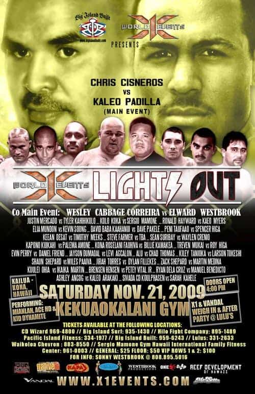 X1#28: Lights Out Kona 2 (Nov 21, 2009) Fight Results