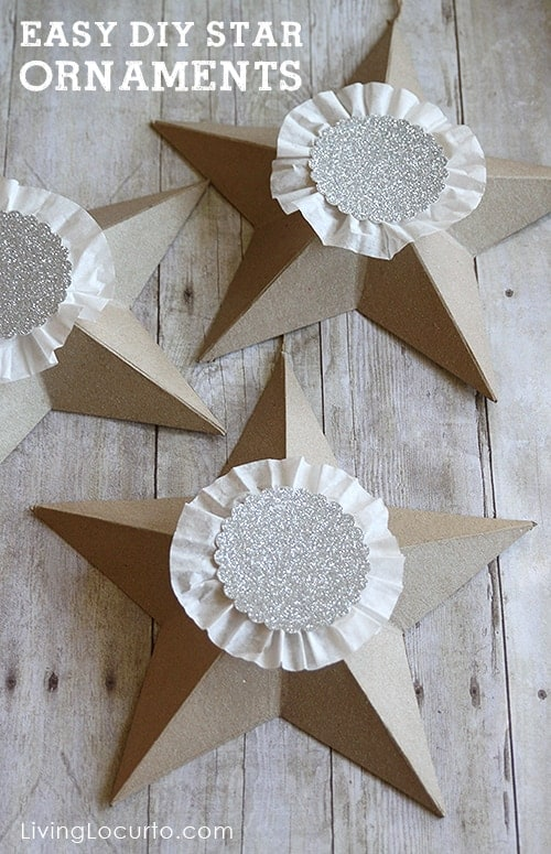 Easy DIY Christmas Tree Star Ornaments. LivingLocurto.com #christmas