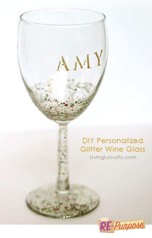 How to make a DIY Personalized Glitter Wine Glass - Repurposed Easy Craft Tutorial by Amy Locurto LivingLocurto.com