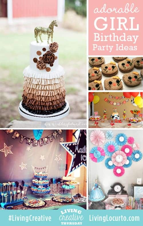 Adorable Girl Birthday Party Ideas shared for #LivingCreative Thursday on LivingLocurto.com