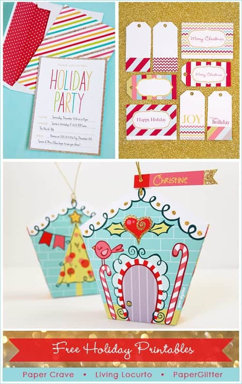 Adorable Holiday Free Party Printables! Invitation, Tags & Ornament |  Living Locurto