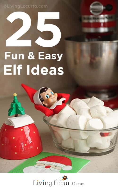 25 Fun & Easy Elf On The Shelf Ideas. A Free Printable Posing Guide at LivingLocurto.com