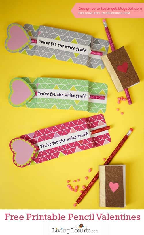 Adorable Free Printable Pencil Holder for Classroom Valentine's Day Cards. LivingLocurto.com