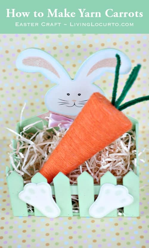 How to Make Yarn Carrots.  Easter Craft via Living Locurto