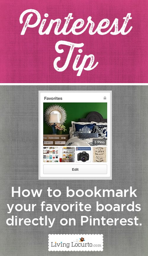 Easy Pinterest Tip for how to bookmark (Pin) your favorite Pinterest boards directly ON Pinterest. In a few steps, you can pin your favorite boards.
