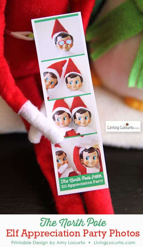 Elf on the Shelf photo booth party pictures from The North Pole. LivingLocurto.com
