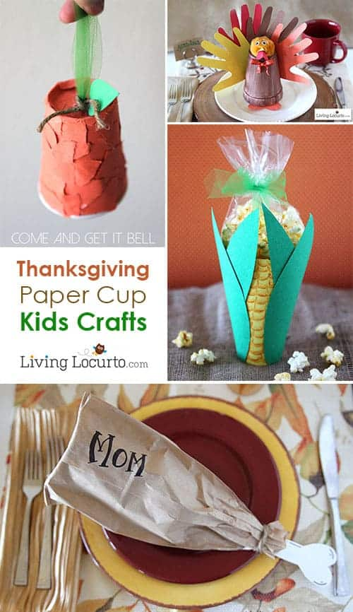 Easy thanksgiving crafts for kids made with paper cups. Fun Kids Activities ideas for Thanksgiving Day! Make a popcorn treat and turkey leg place setting.