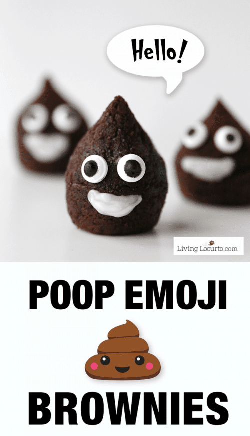 These easy to make Poop Emoji Brownies are so cute! Adorable chocolate treat for an Emoji Birthday Party celebration.