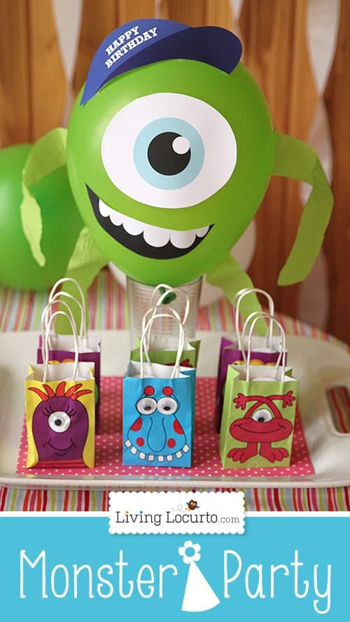 Monster University Birthday Party Ideas with Free Party Printables by Amy Locurto. Cute Mike Wazowski Balloon Centerpiece! LivingLocurto.com #monstersU
