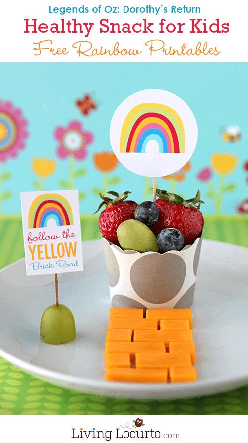 Free Rainbow Party Printables & Healthy Snack - Legends of Oz: Dorothy's Return LivingLocurto.com