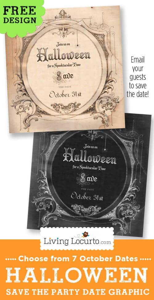 Halloween Party Save the Date Invitation. Free Graphic to email or text friends to mark their calendar. by LivingLocurto.com