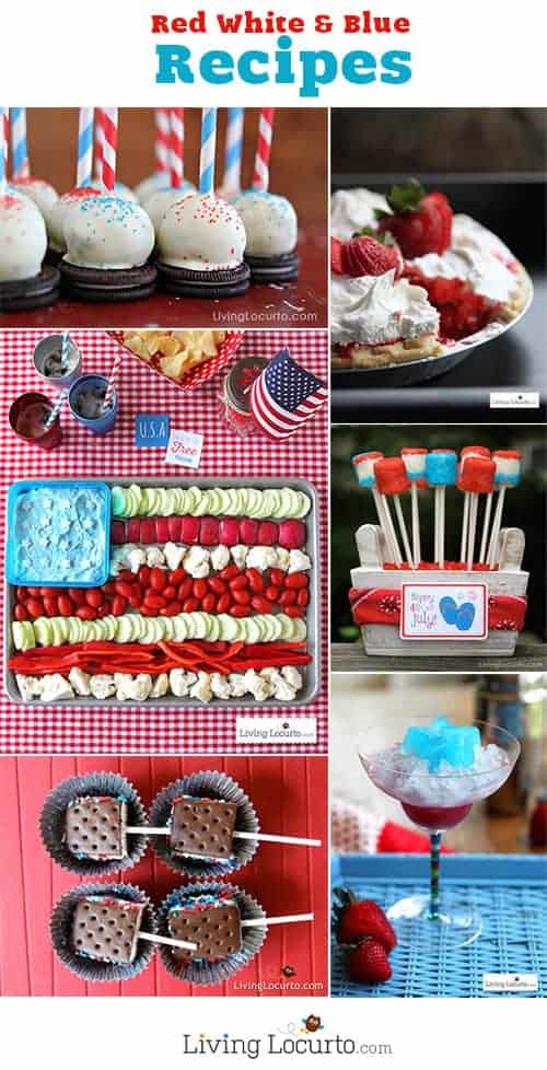 Red, White and Blue Recipes. Fun desserts, appetizers and free party printables at LivingLocurto.com