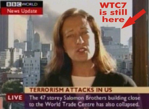 Screen shot of Jane Standley's live report BBC report announcing the collapse of WTC BEFORE it fell
