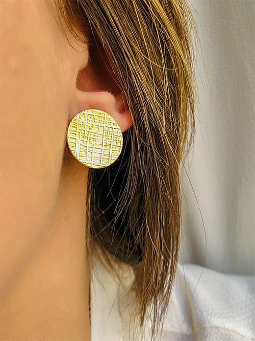 boucles d'oreilles plaque texturée plaqué or 925grammes.com