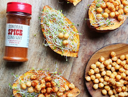 Sweet Potato Chickpea Boats With Sonoran Spice Chipotle Powder