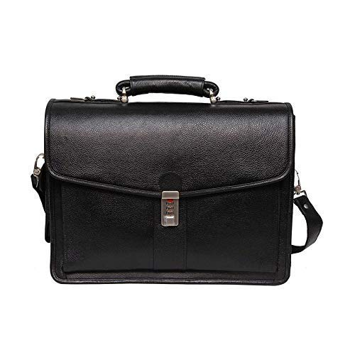 16 Inch Men's Leather Briefcase Leather Laptop Bag Black