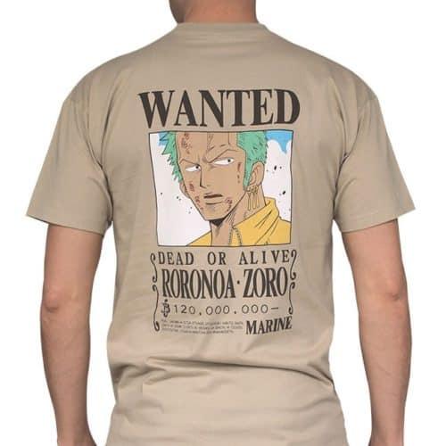 t-shirt zoro wanted one piece