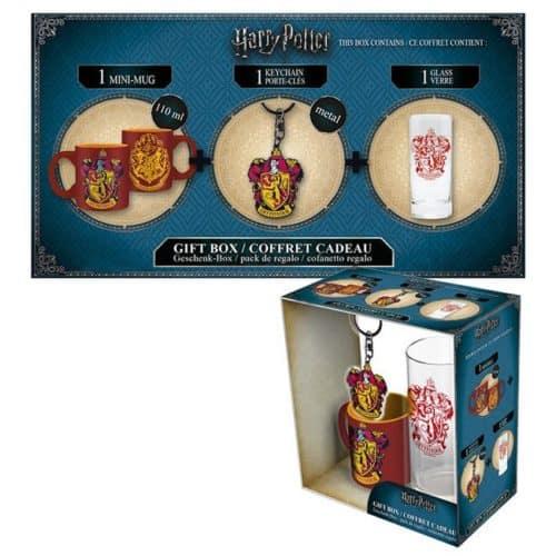 Gift Box Harry Potter Tazza caffè bicchiere e portachiavi Grifondoro