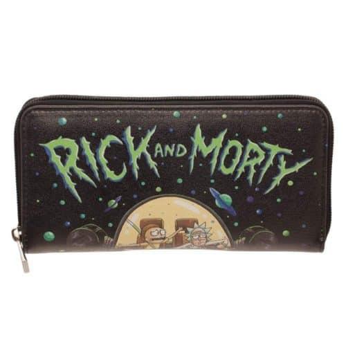 portafoglio da donna nero grande Rick & Morty