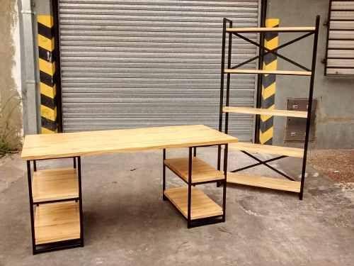Mẫu bàn làm việc + kệ hồ sơ khung chân sắt mặt gỗ GHZ-736 đồng bộ