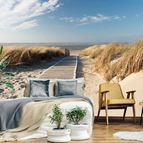 Piękna fototapeta z motywem morskim w nowoczesnej sypialni