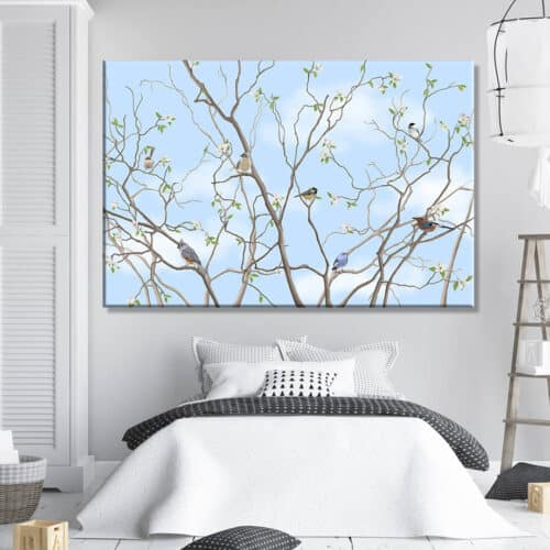 obrazy dla dzieci - Drzewo Ptaki