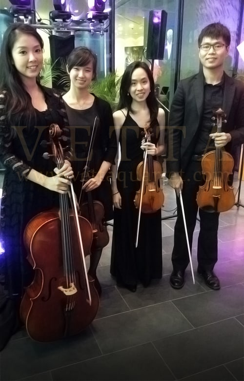string quartet for corporate function building launch
