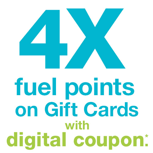 4x fuel points on gift cards with Dillons coupon