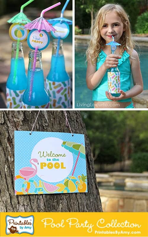 Pool Party Ideas! Fun Food & Party Printables by Amy Locurto. Living Locurto. Pool drinks