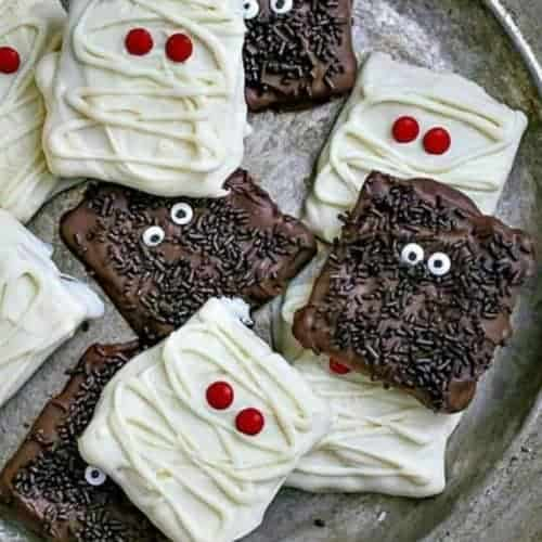 Monster and Mummy Chocolate Covered Graham Cracker Cookies