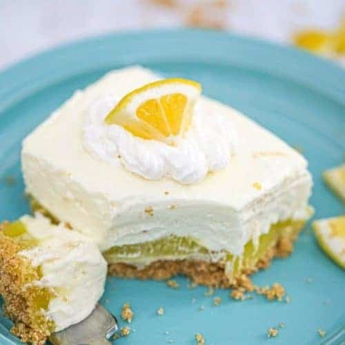 Lemon Layered Pudding Cheesecake Bars